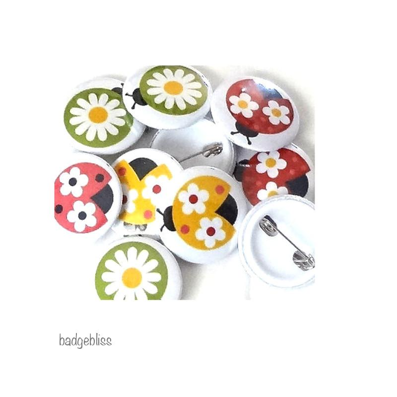 Button badges Ladybirds - badge-bliss