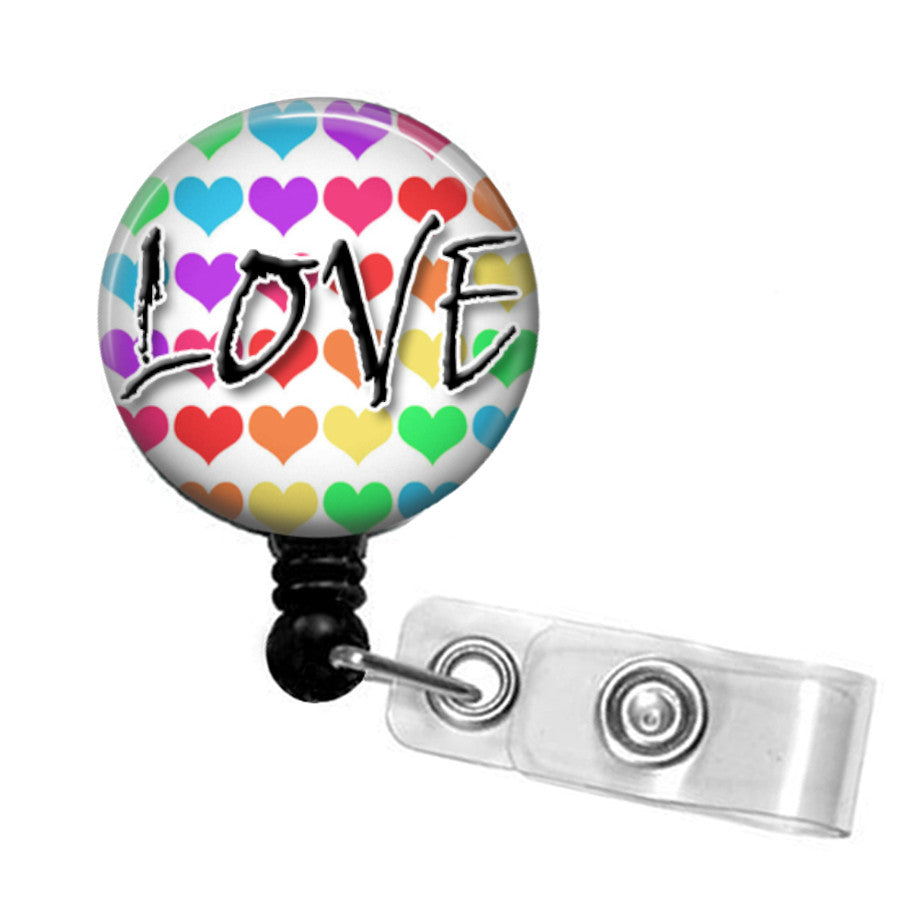 Love ID badge reel with keyring