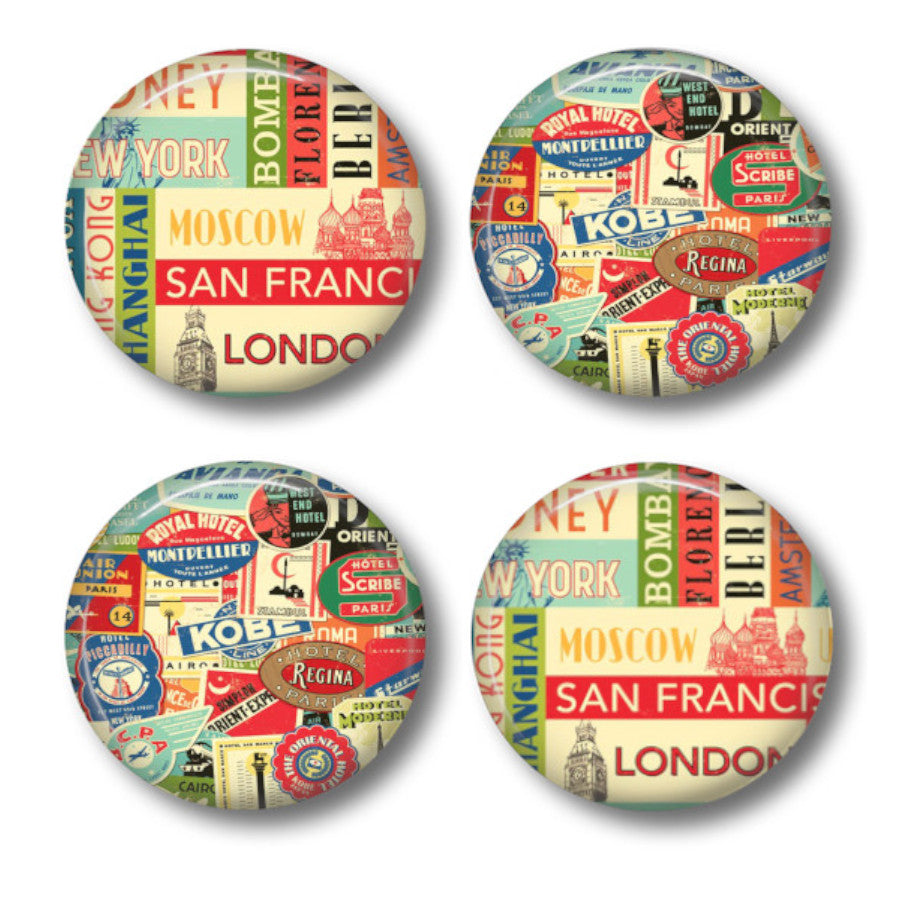 Vintage Luggage tags coaster set