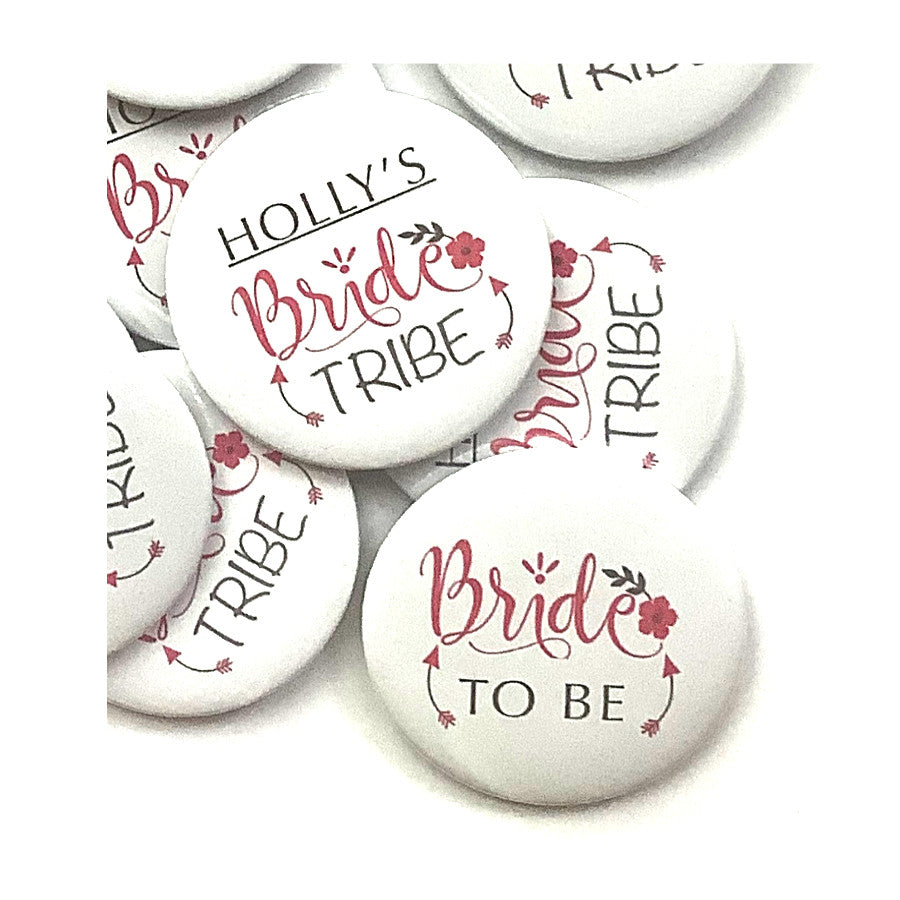 Bride tribe hen party button badge, add the Brides name
