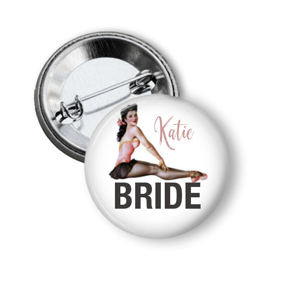 Pink pin girl hen party badge - badge-bliss