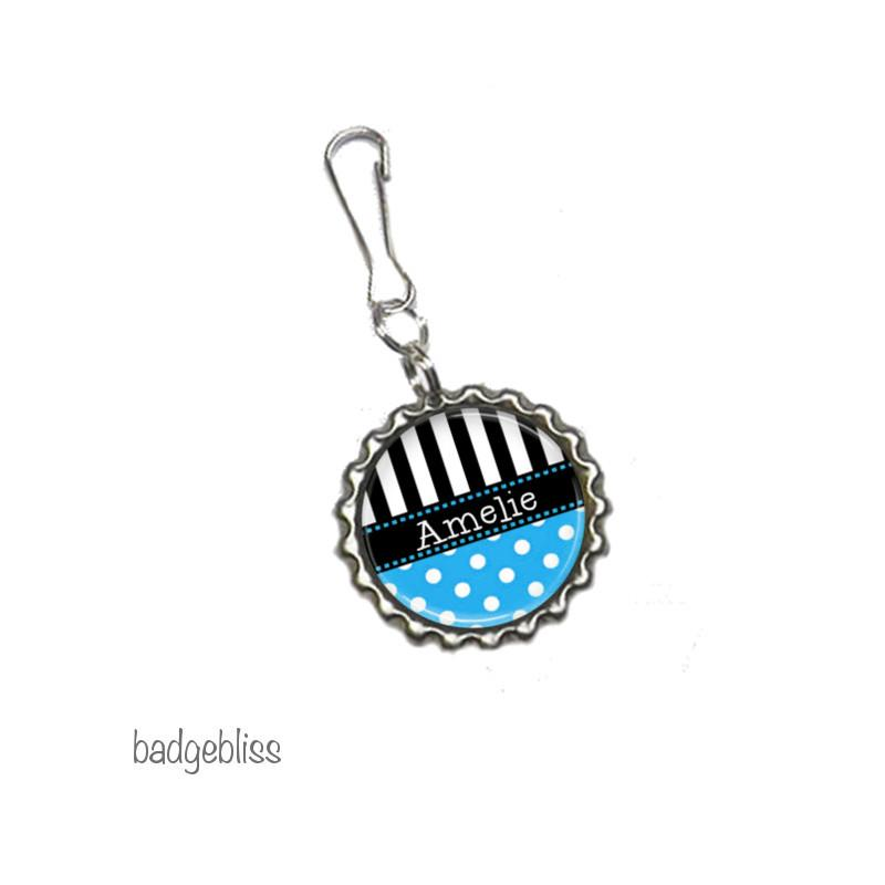 Polka dot Zip pull, bag charm, add your name