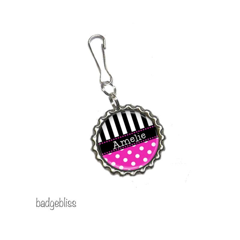 Polka dot Zip pull, bag charm, add your name - Badge Bliss