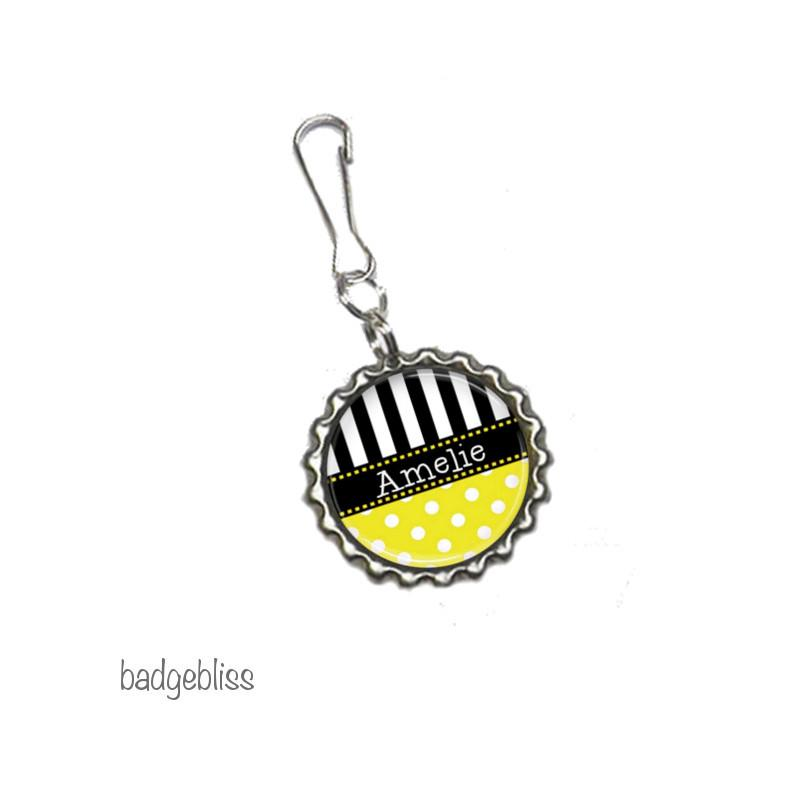 Polka dot Zip pull, bag charm, add your name - badge-bliss