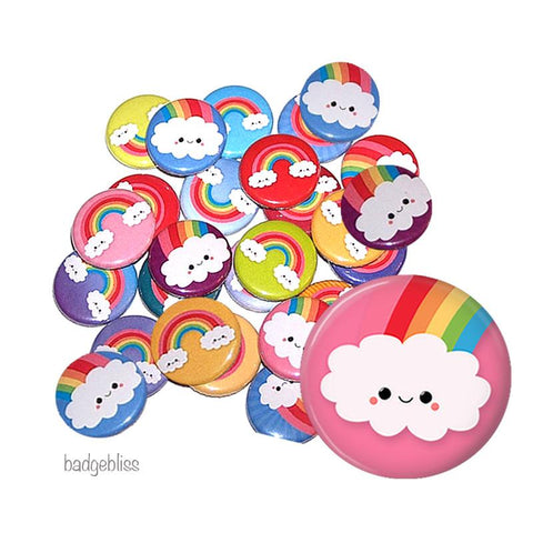 Button badge party pack rainbows