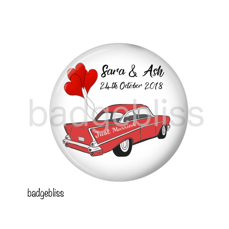 Retro wedding car fridge magnet favour - Badge Bliss