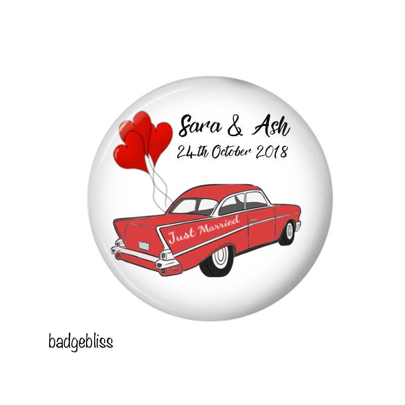 Retro wedding car fridge magnet favour