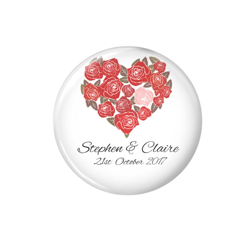 Red floral wedding favour magnet - badge-bliss