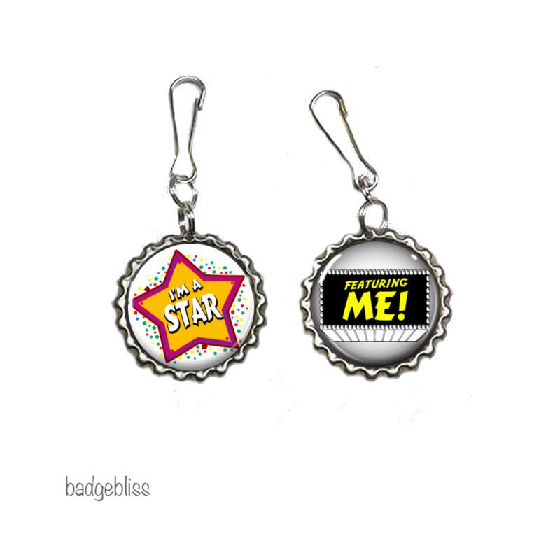 Star zip pulls, bag charms - badge-bliss