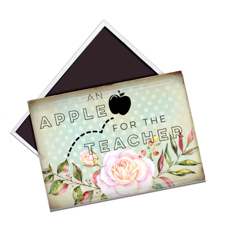 Apple for the Teacher fridge magnet - badge-bliss