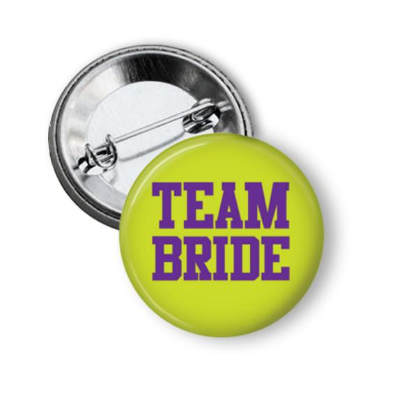 Team Bride hen party button badge - badge-bliss