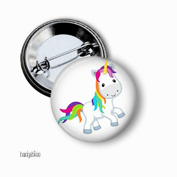 Unicorn and Rainbows button badges - badge-bliss