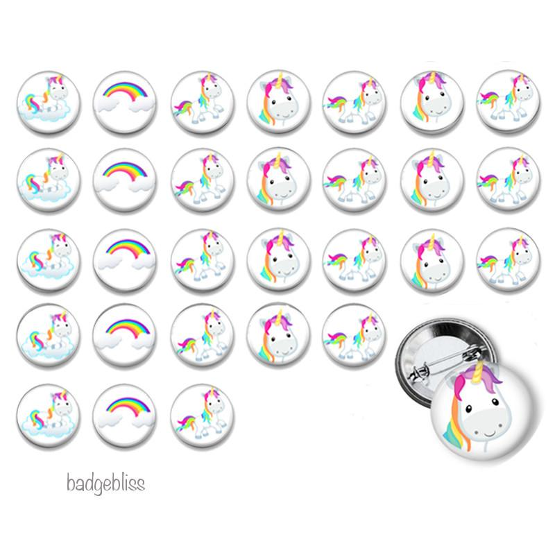 Unicorn and Rainbows button badges - Badge Bliss