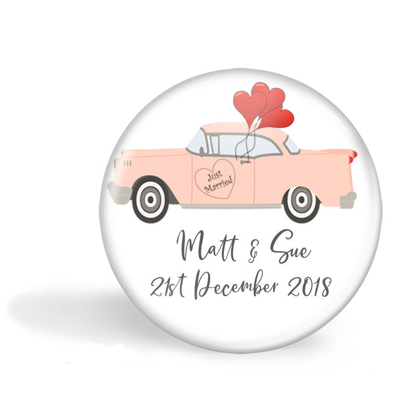 Vintage car wedding favour magnets - Badge Bliss