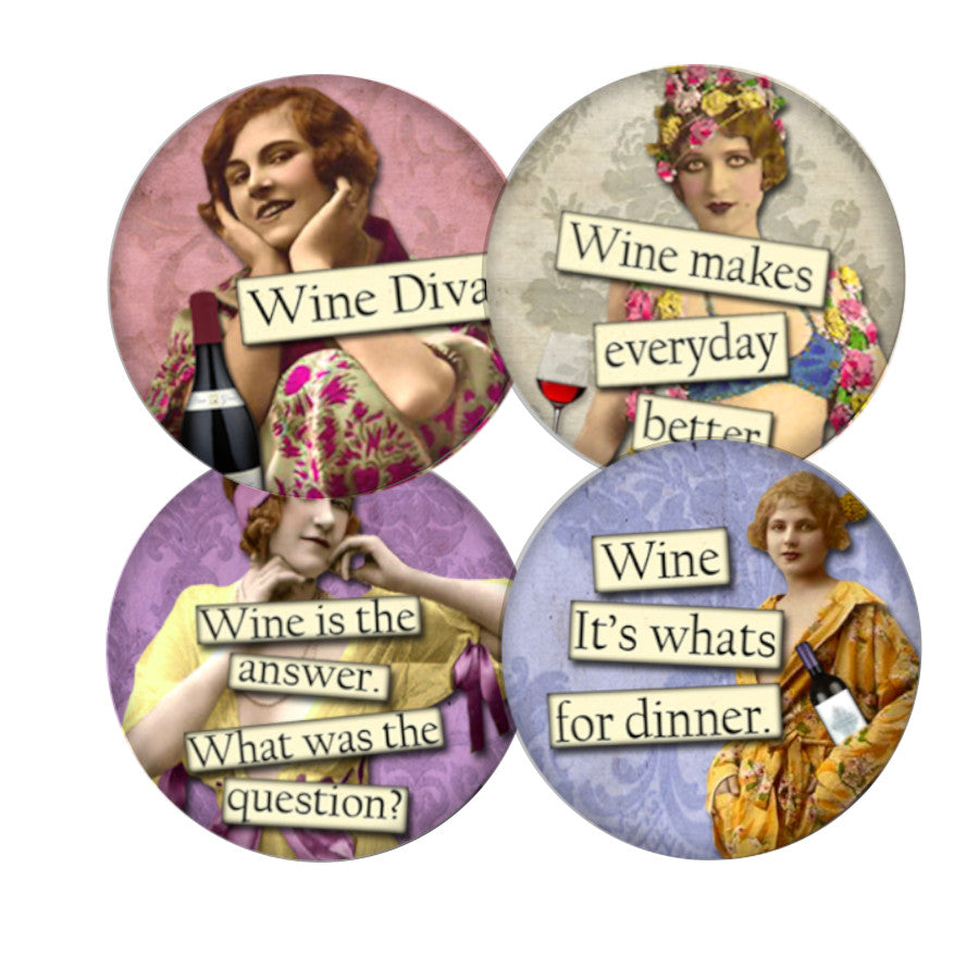 Wine Diva coaster set