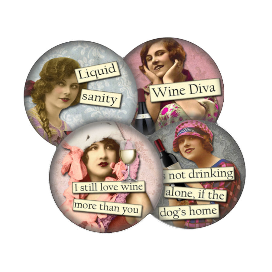 Wine Diva 2 coaster set