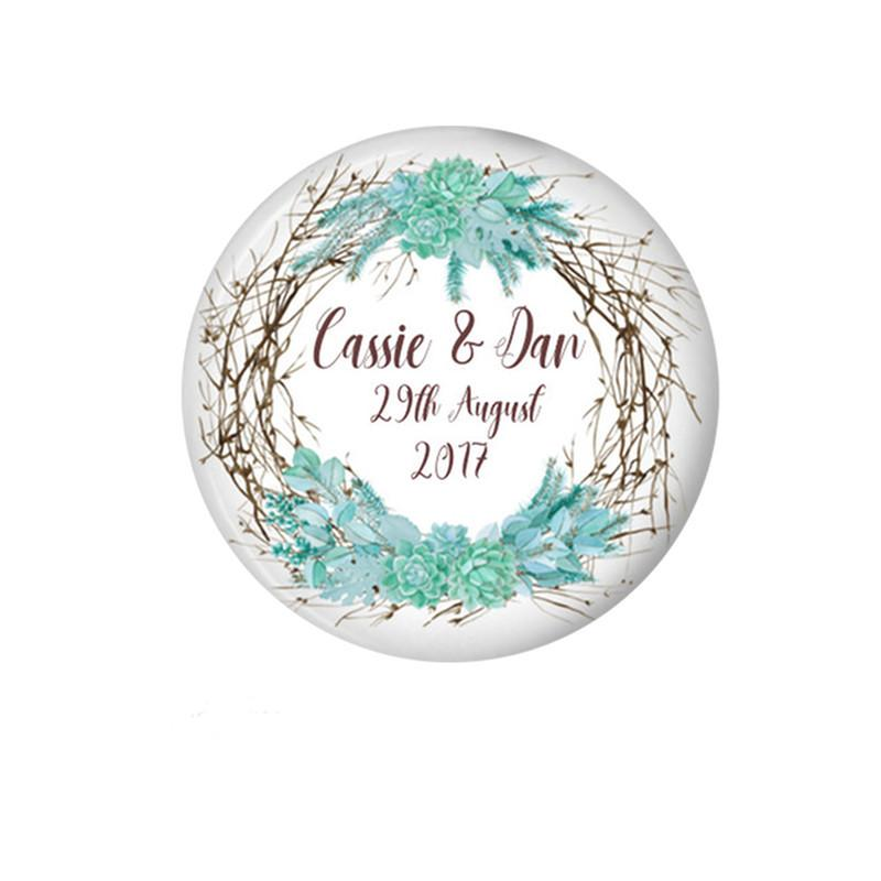Wedding favour magnet Succulent floral wreath - badge-bliss