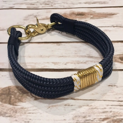 Navy Blue + Gold Confetti Rope Collar by Ruggedwrist