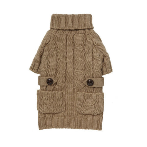 Pocket Cable Knit Camel by FabDog