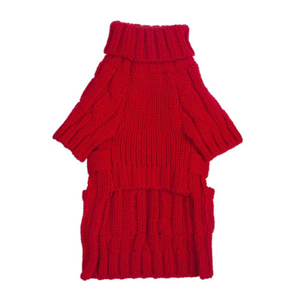 Pocket Cable Knit Red by FabDog