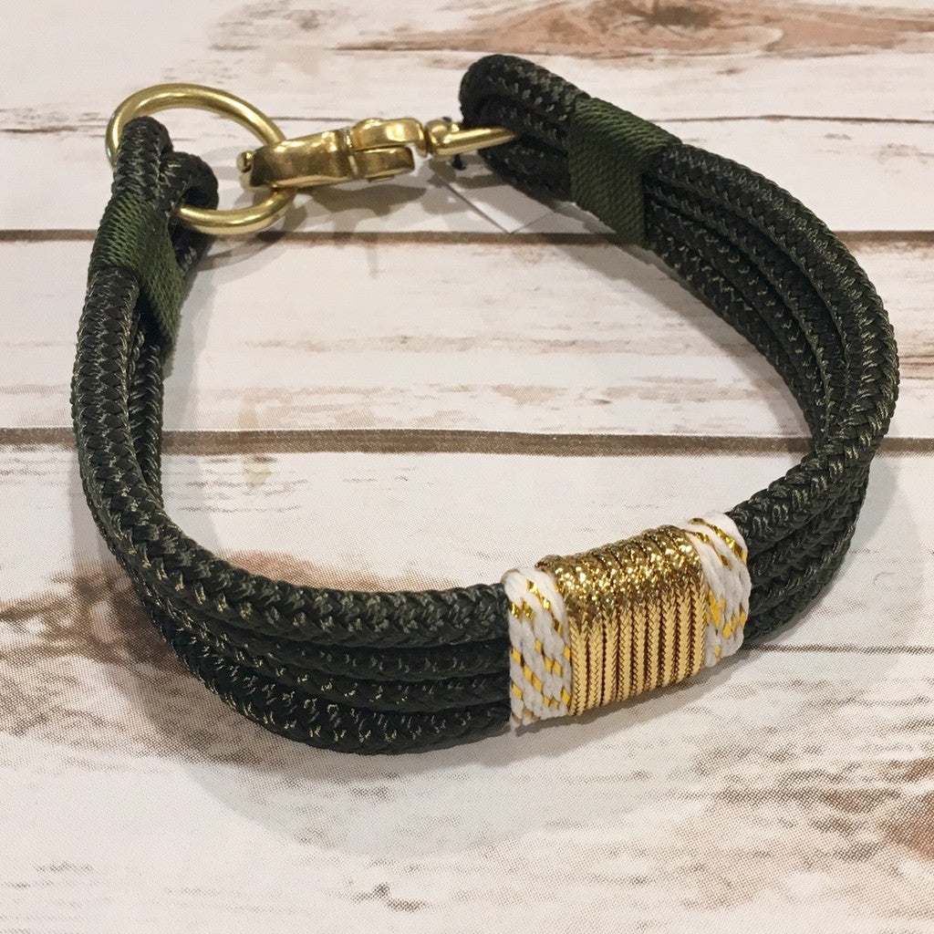 Olive Green + Gold Confetti Rope Collar by RuggedWrist