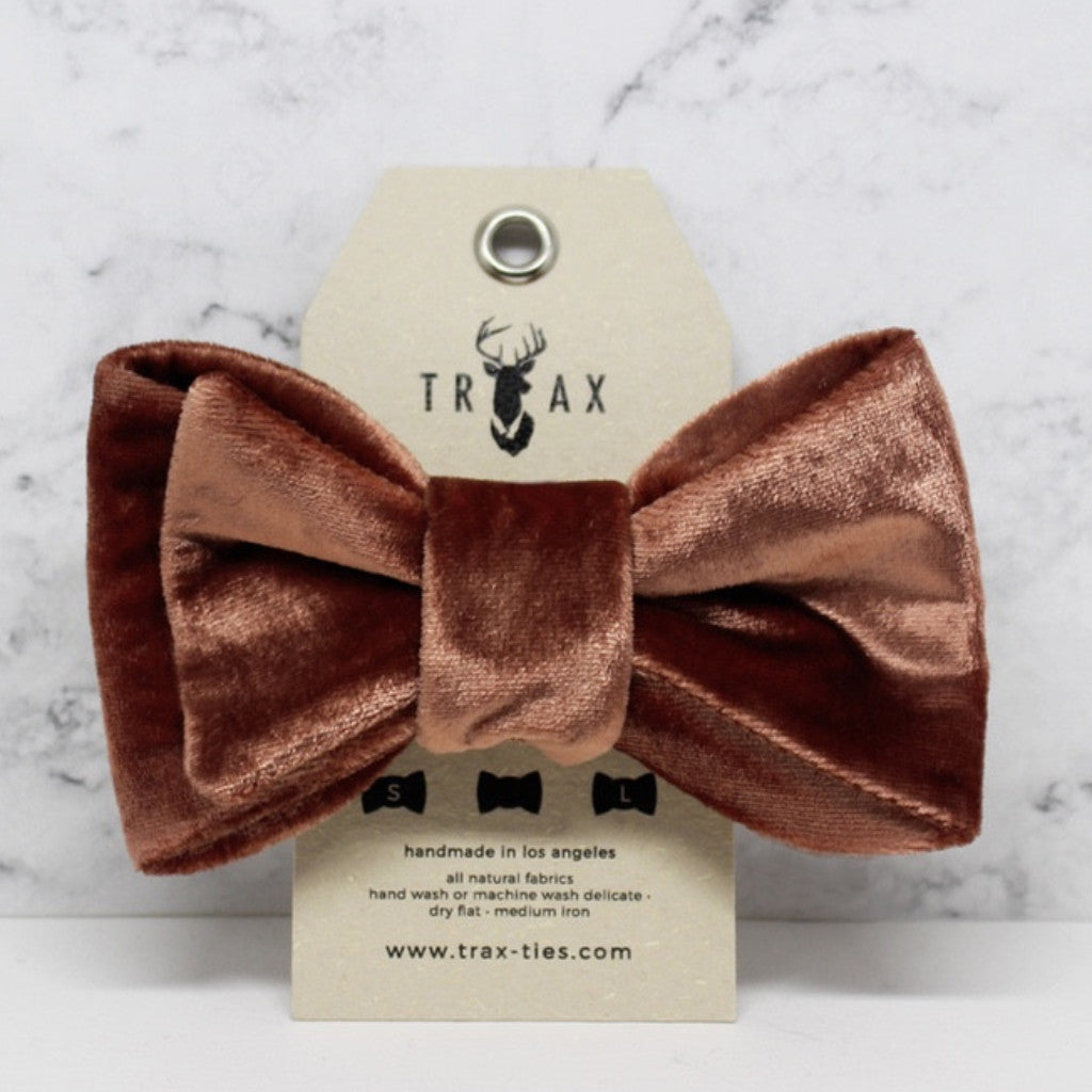 LUXE Rose Gold - Silk Velvet Bow Tie by TRAX TIES x LELE for @pawboutik