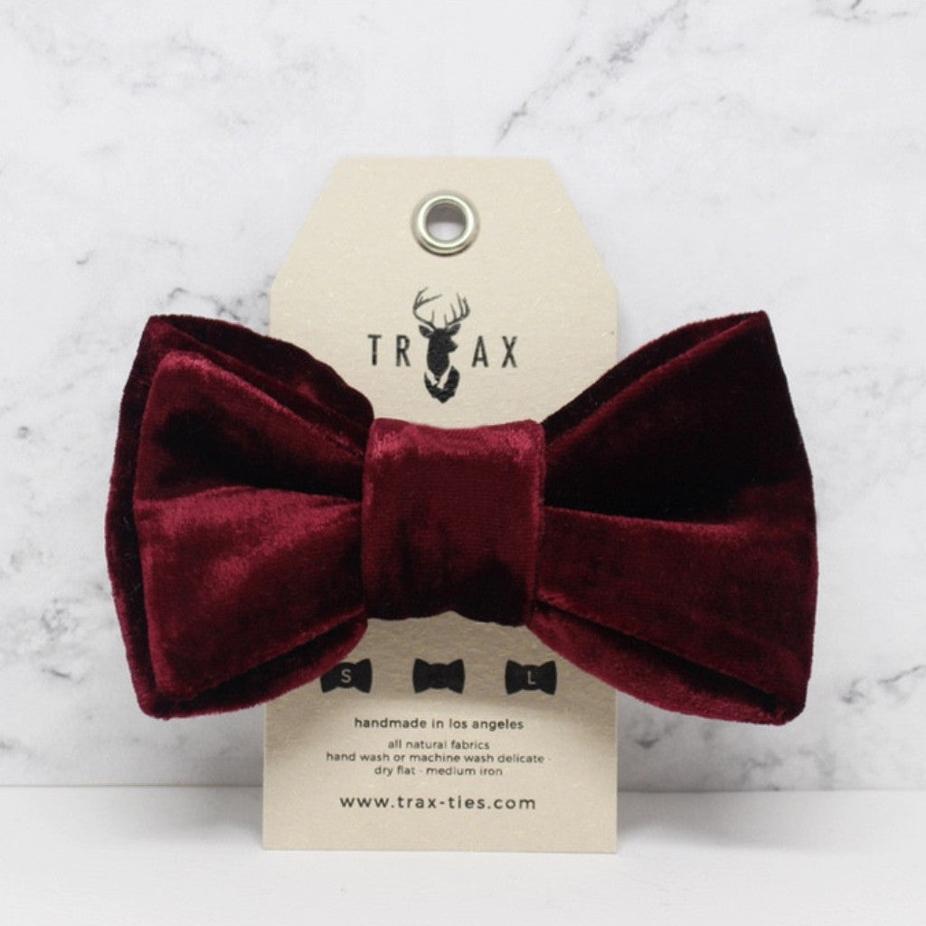 LUXE Burgundy - Silk Velvet Bow Tie by TRAX TIES x LELE for @pawboutik