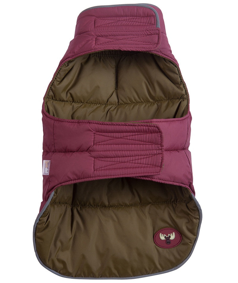 Olive/Burgundy Reversible Moose Puffer by FabDog
