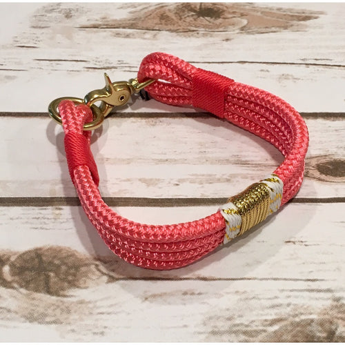 Girlie Pink + Gold Confetti Rope Collar by Ruggedwrist