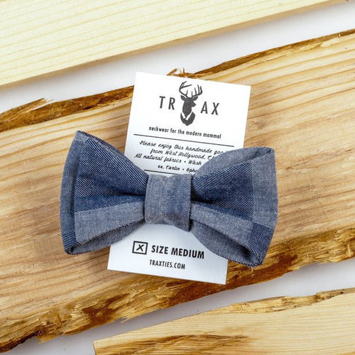 Chambray Denim Patchwork Bow Tie by TRAX TIES