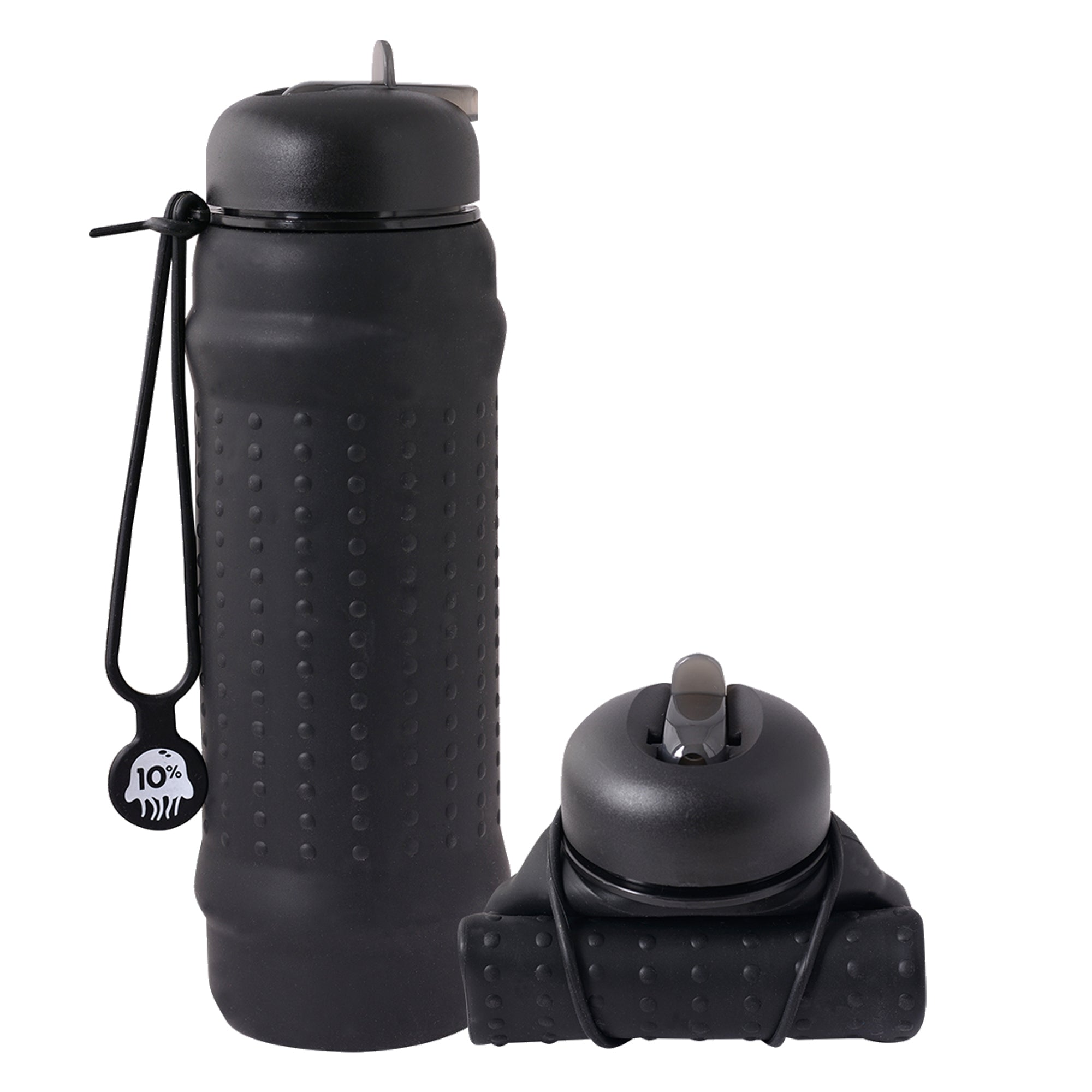 Rolla Bottle, black bottle with black lid and strap
