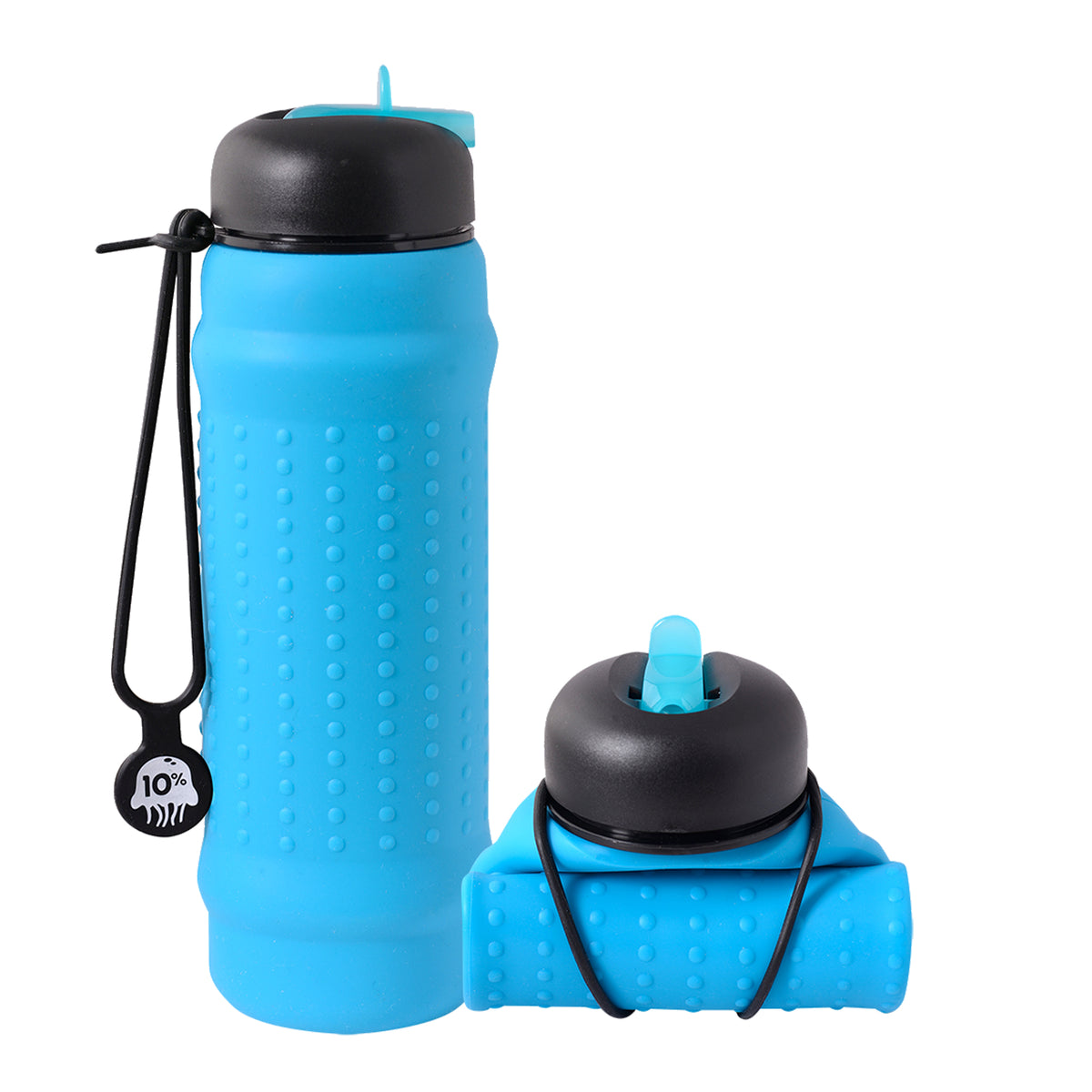 Rolla Bottle Aqua, Black & Blue Lid + Black Strap