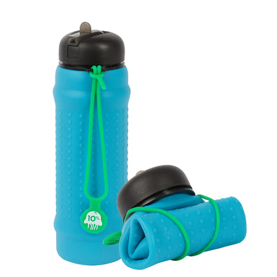 Rolla Bottle - Aqua, Black Lid + Green Strap - tall and rolled