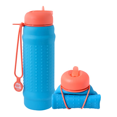 Rolla Bottle - Aqua, Coral Lid + Coral Strap - tall and rolled