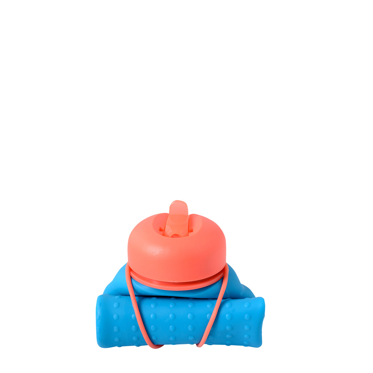 Rolla Bottle - Aqua, Coral Lid + Coral Strap - rolled