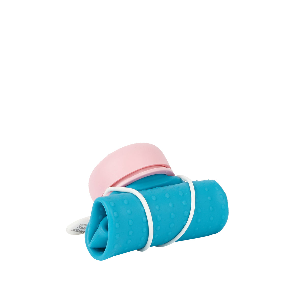 Rolla Bottle - Aqua, Pink Lid + White Strap - rolled
