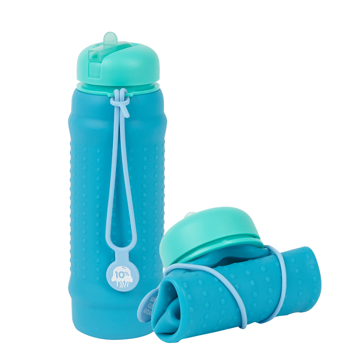 Rolla Bottle - Aqua, Teal Lid + Dusty Blue Strap - tall and rolled