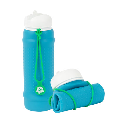 Rolla Bottle - Aqua, White Lid + Green Strap - tall and rolled