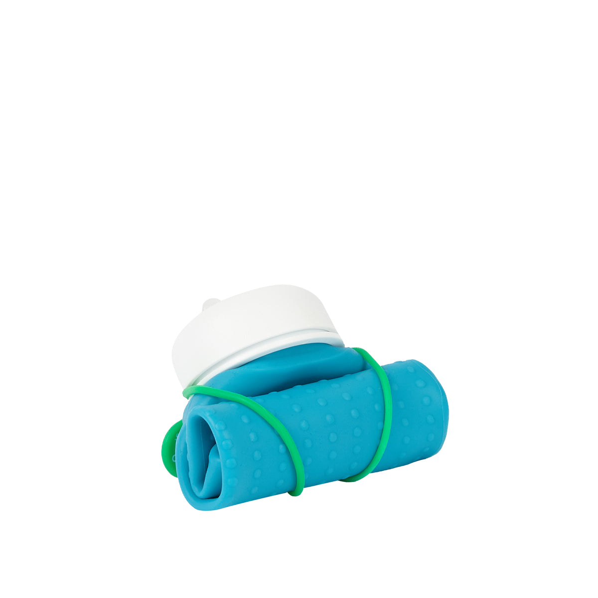 Rolla Bottle - Aqua, White Lid + Green Strap - rolled