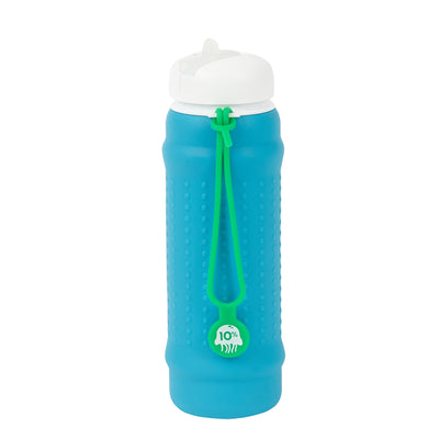Rolla Bottle - Aqua, White Lid + Green Strap