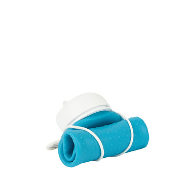 Rolla Bottle - Aqua, White Lid + White Strap - rolled