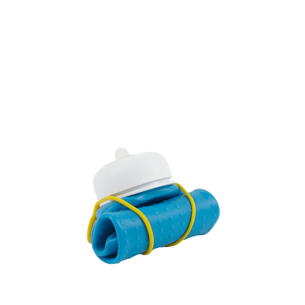 Rolla Bottle - Aqua, White Lid + Yellow Strap, rolled small