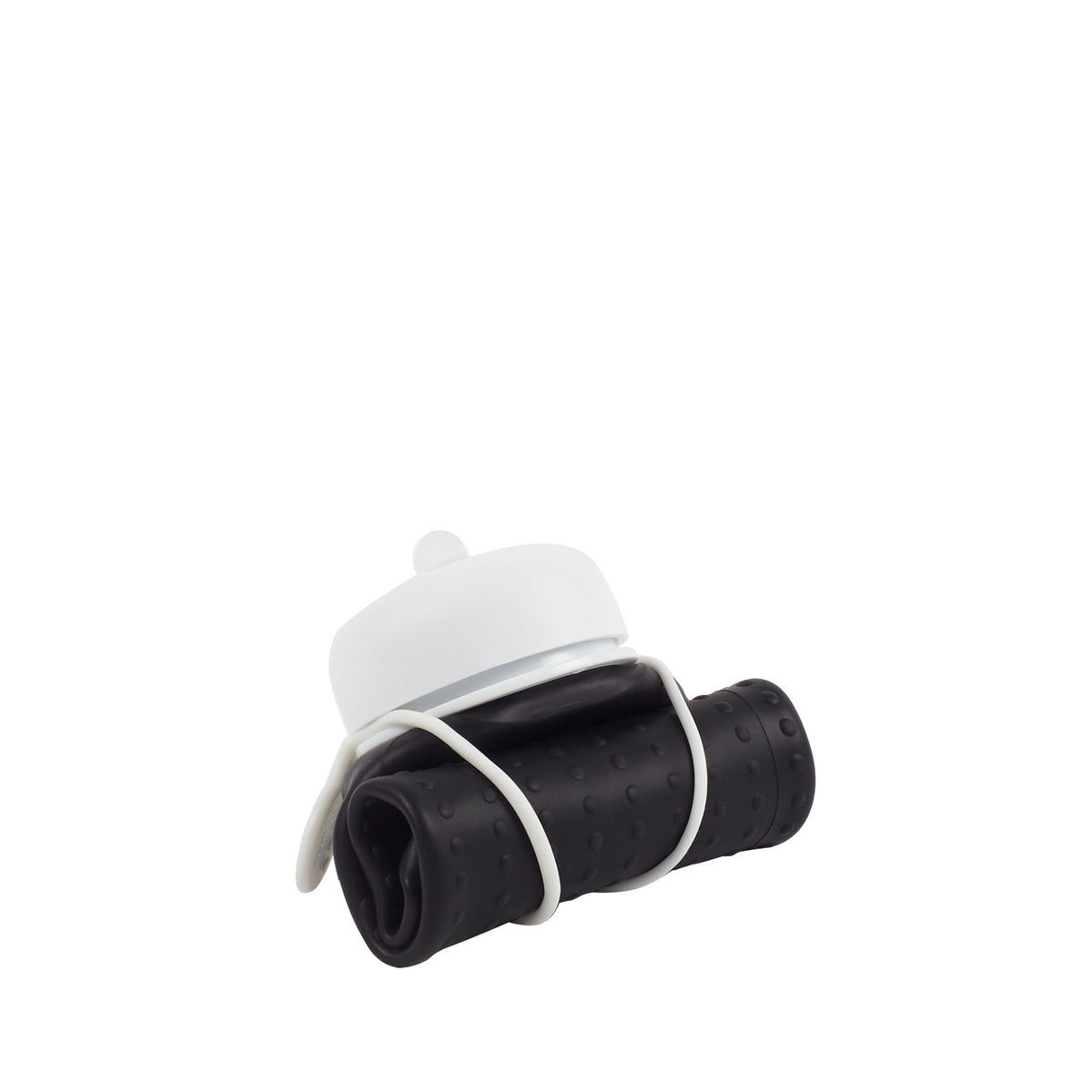 Rolla Bottle - Black, White Lid + White Strap - Rolled