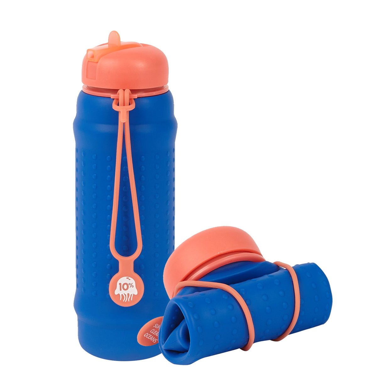 Rolla Bottle - Cobalt, Coral Lid + Coral Strap - tall and rolled