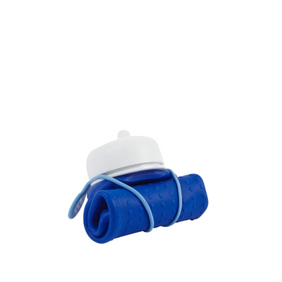Rolla Bottle - Cobalt, White Lid + Dusty Blue Strap