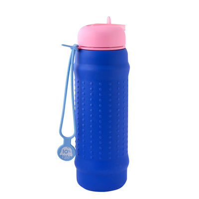 Rolla Bottle - Cobalt, Pink Lid + Dusty Blue Strap