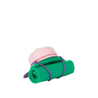 Rolla Bottle - Green, Pink Lid + Violet Strap - rolled