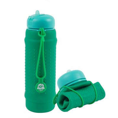 Rolla Bottle - Green, Teal Lid + Green Strap