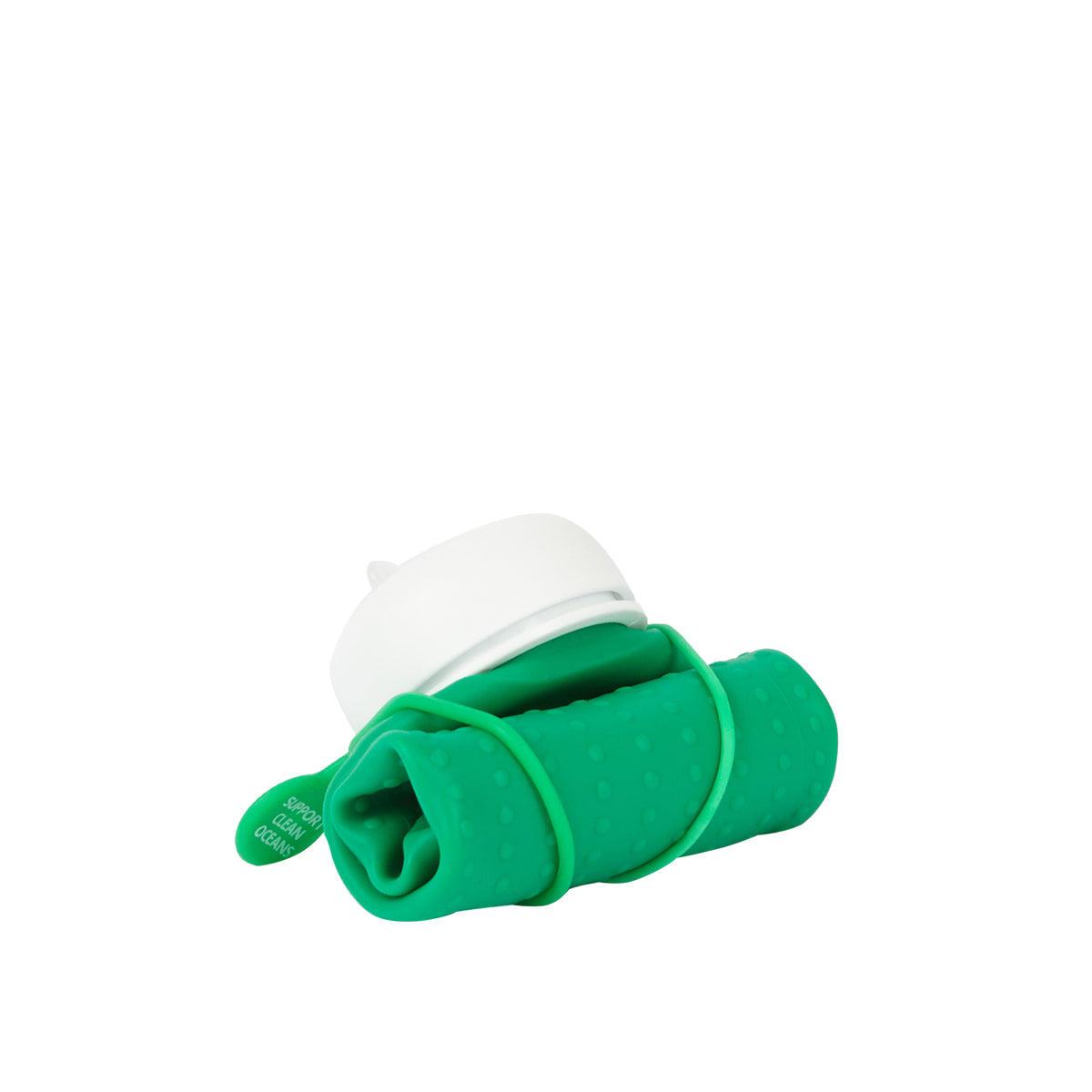 olla Bottle - Green, White Lid + Green Strap - rolled