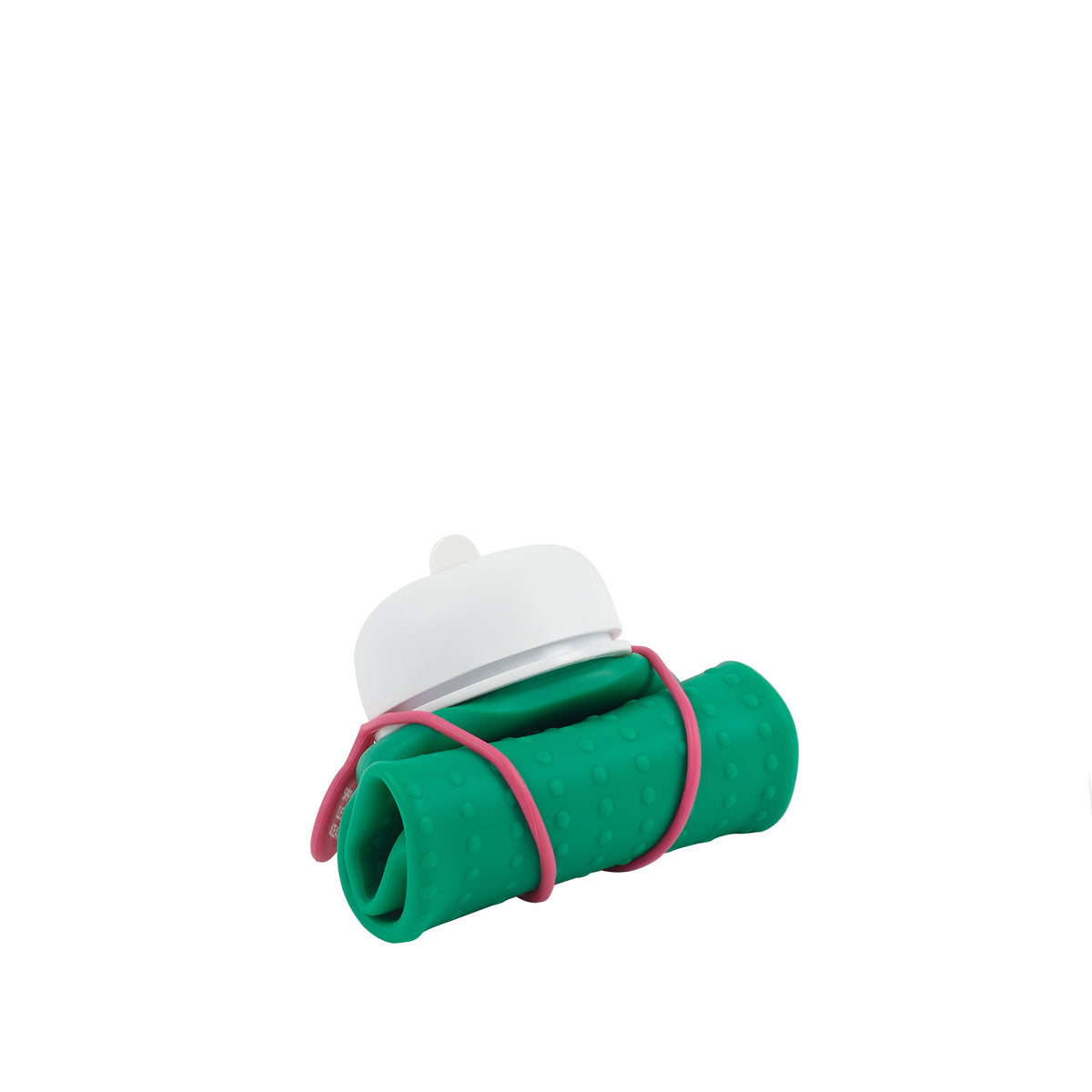 Rolla Bottle - Green, White Lid + Pink Strap